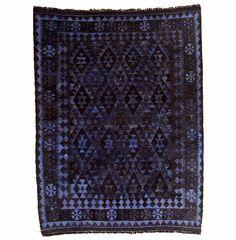 Vintage Violet-Blue Over-Dyed Kilim - June, Antique Rugs