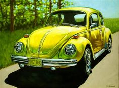 "Daily Paintworks - ""Punch Buggy Yellow"" - Original Fine Art for Sale - © Margaret Horvat"