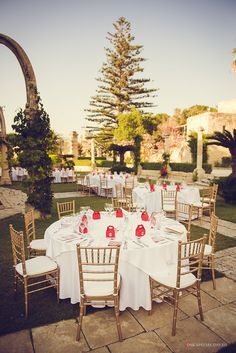 Setup in Dolphin garden at Villa Bologna   Wedding by Wed Our Way