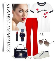 Statement t-shirt by andrea-leiner on Polyvore featuring polyvore, fashion, style, Tory Burch, Alexander McQueen, Furla, Marc Jacobs, POLICE, Rimmel and clothing