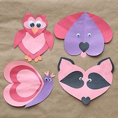 heart elephant paper craft for shape book. Print on fancy craft ...