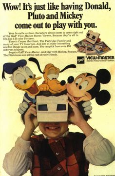 See dozens of vintage View-Master reels & viewers: Classic toys that made color pictures come to life - Click Americana Disney Toys, Disney Art, Disney Stuff, Vintage Advertisements, Vintage Ads, Nostalgia, View Master, Favorite Cartoon Character, Classic Toys