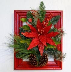 Red Poinsettia Wreath Wood Frame Poinsettia by morgancollectibles