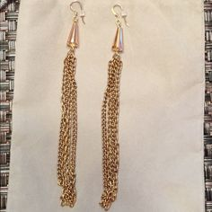 Alex and Ani Fringe Earrings - NWT Brand-new with tags.  Rafaelian Gold finish assorted chain Fringe and faceted Cone Earrings.  14 karat rose gold plated French hook back earrings. Approximately 5.5 inches long. Retail price $38 Alex & Ani Jewelry Earrings