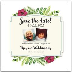 SAVE THE DATE | Thema Tropical Chique  #card# aquarel #oldskool #babypictures #photo #oudhollands #tropical #savethedate #flower  #tropicalchic #boho  Creative Concept: Organisatiebureau Njoy & Party - Thessa Latupeirissa www.njoyparty.nl