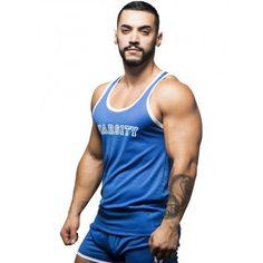 Andrew Christian Varsity Mesh Tank Top Royal (T5462) Andrew Christian, Gym Wear, Workout Wear, Tank Tops, Mens Fitness, Gym Workouts, Tank Man, Mesh, Stylish