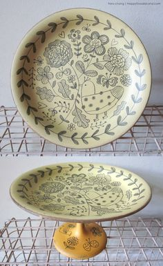 doodle footed plate (wood) - flora chang | Happy Doodle Land