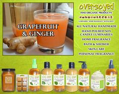 Grapefruit & Ginger Product Collection - Just the right amount of fresh, sweet citrus with a touch of woody spice. #OverSoyed #GrapefruitGinger #Citrus #Citrusy #Candles #HomeFragrance #BathandBody #Beauty