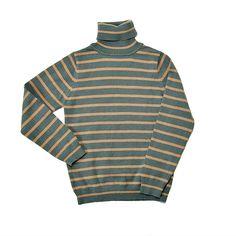 Jersey Unisex de cuello vuelto de Tex Kids. Verde con rayas marrones.  2-3 años.  #jersey #rayas #unisex #trueque #verde #marrón