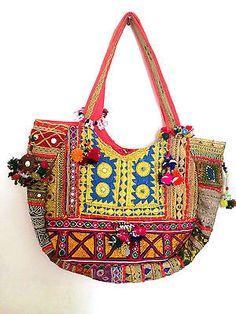 Tribal-Cigano-Hippie-Boho-etnica-Multicolor-Grande-Vintage-Banjara-Bolsa-Tote-de-algodao