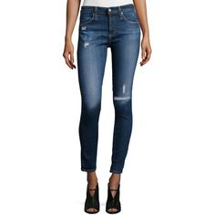 AG Farrah Skinny Ankle Jeans ($104) ❤ liked on Polyvore featuring jeans, destroyed jeans, faded skinny jeans, zipper skinny jeans, ripped skinny jeans and skinny fit jeans