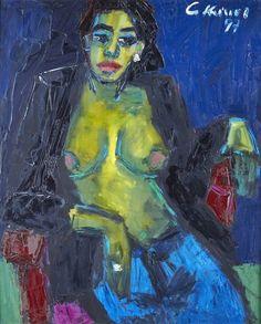 Artwork by Gernot Kissel, Nu sur fond bleu, Made of Oil on canvas