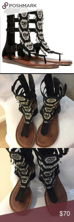 Black beaded gladiator caged sandal like new! See pics for Description. Condition like new . Literally only worn for a few hours. Bottom has marks from wear outside. No flaws or beads missing. Gorgeous beading detail, buckle closure. Great sandal for your closet. Price Firm Carlos Santana Shoes Sandals