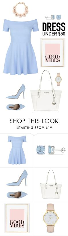 """""""Untitled #33"""" by lelecorn ❤ liked on Polyvore featuring New Look, Ice, Norma J.Baker, MICHAEL Michael Kors, Kate Spade, J.Crew and Dressunder50"""