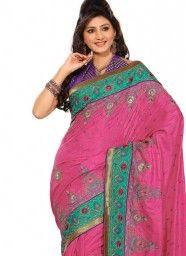 Fine Silk Patch Border Work Designer Saree