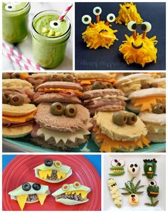 Monster Recipes & Snacks for Kids Lots of monster snacks and recipes - perfect for a Halloween treat!Lots of monster snacks and recipes - perfect for a Halloween treat! Halloween Snacks, Halloween Treats For Kids, Halloween Dinner, Holiday Treats, Holiday Recipes, Halloween Ideas, Monster Snacks, Monster Themed Food, Monster Food