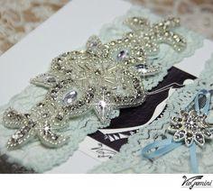 Lace Wedding Garter Set / Bridal garter set / Keepsake Garter / Rhinestone Garter /  Toss Garter / Something blue, crystal applique