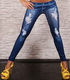 Women's Jeans Look Denim Skinny Sexy Leggings Stretchy Jeggings Soft Pants #FashionGirls