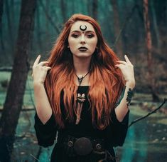 Redheaded witch with our Magpie necklace ♥😍 We're in love ♥♥♥ Necklace available in our Etsy shop - link in the bio. Witch Photos, Halloween Photos, Halloween Photography, Fantasy Photography, Beltane, Pagan Witch, Witches, Dark Witch, Witch Makeup