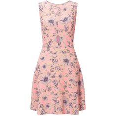 Miss Selfridge Pink Floral Print Skater Dress ($21) ❤ liked on Polyvore featuring dresses, pink, pink skater dress, floral skater dress, short sleeve skater dress, short-sleeve skater dresses and cocktail dresses