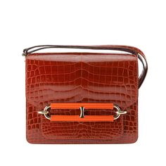 d718332dfb1e HERMES ROULIS BAG SHINY ROUGE H NILO CROCODILE W PERMABRASS HARDWARE  JaneFinds
