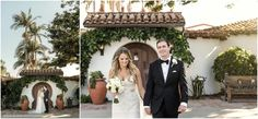 Wedding at Casa Romantica in San Clemente California. A beautiful Historic home on the cliffs  with amazing Ocean Views.  Bride and Groom in the garden.
