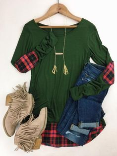 Flannel Patch Top.  Deep hunter green with soft plaid flannel elbow patches and back detail. This lightweight top is down right adorable with its hi low hem and wide neckline. Fall fashion. Winter wardrobe. Festive style. Boutique style. http://therollinj.com