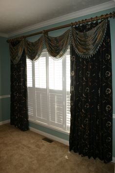 Dining room drapes and shutters by Gotcha Covered KY Dining Room Drapes, Custom Window Treatments, Shutters, Valance Curtains, Windows, Living Room, Bed, House, Ideas