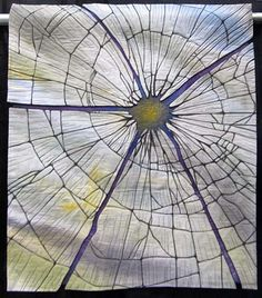Shattered, art quilt by Betty Busby, 42 x 36″  Part of SAQA's Layers of Memory exhibit.  http://bbusbyarts.com/