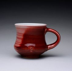 handmade porcelain mug cup with copper red and by rmoralespottery, $25.00