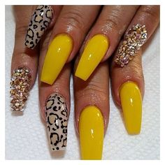 In look for some nail designs and ideas for the nails? Here is our list of 28 must-try coffin acrylic nails for stylish women. Dope Nails, Get Nails, Fancy Nails, Fabulous Nails, Gorgeous Nails, Pretty Nails, Yellow Nails, Beautiful Nail Art, Nails Inspiration