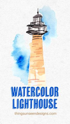 How to Paint: Watercolor Lighthouse in a loose style - Things Unseen Designs Learn how to paint thes Watercolor Beginner, Watercolor Paintings For Beginners, Beginner Painting, Watercolour Tutorials, Painting Videos, Watercolor Techniques, Painting Styles, Painting Lessons, Watercolor Pencil Art
