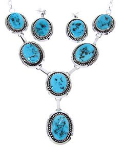 Sleeping Beauty Turquoise Navajo Link Necklace Earring Set MW65754