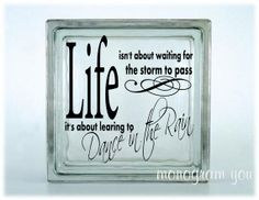 Glass Block Vinyl Decal 'Life isn't about waiting by MonogramYou, $5.95
