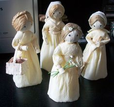"""My  version of """"corn husk dolls"""" made from crepe paper from a pattern in """"Dolls in Miniature"""" by Valerie Janitch"""