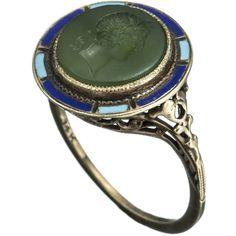 Designer Clothes, Shoes & Bags for Women Green Onyx, 1920s, Gemstone Rings, Enamel, Shoe Bag, Gemstones, Polyvore, Gold, Blue