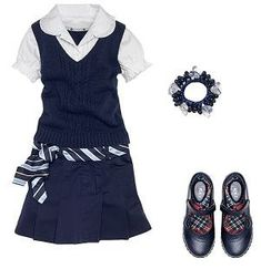Navy blue and white short sleeve school uniform with navy blue plaid belt and navy blue shoes with hair decor. This is just a fashion idea not store specific Toddler School Uniforms, Back To School Uniform, Cute School Uniforms, School Uniform Fashion, Kids Uniforms, School Outfits, Kids Outfits, Cute Outfits, Police Uniforms