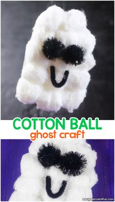 Cotton ball ghost craft for kids. Simple Halloween craft idea for kids.