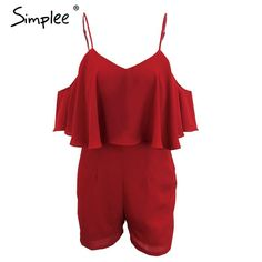Simplee Apparel Elegant red ruffles women jumpsuit romper Sexy off shoulder high waist overalls Girls one piece chiffon playsuit