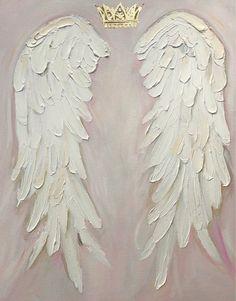 Angel Wings Painting , shabby Chic, gold crown, nursery decor, hand painted angel wings custom painted in 2019 Angel Wings Art, Angel Wings Drawing, Angel Wings Painting, Angel Art, Wooden Angel Wings, Angel Decor, Diy Angels, How To Draw Angels, Angel Aesthetic