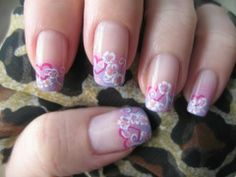 A sweet valentine nail art design, with hearts, flowers and swirls by Cajanails