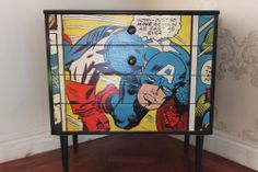 Upcycled Vintage Retro Chest of Drawers Captain America Marvel Comic Super Hero £200