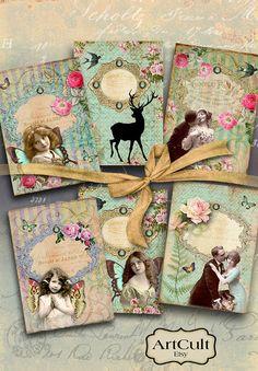 SPLENDID VICTORIANA Gift Tags  Printable Digital by ArtCult, $4.60