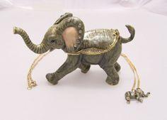 New Trinket Box Gift Swarovski Crystals Lucky Elephant Animal Necklace