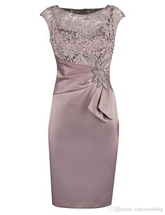 Sheath Bateau Short Champagne Satin Mother of The Bride Dress with Lace Beading – Vintage – Elegant Mob Dresses, Trendy Dresses, Nice Dresses, Short Dresses, Fashion Dresses, Peplum Dresses, Fashion Clothes, Mother Of Groom Dresses, Mothers Dresses