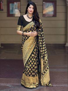 Black Color Woven Banarasi Silk Saree With Blouse Banarasi Sarees, Silk Sarees, Indian Fashion, Womens Fashion, Saree Styles, Indian Designer Wear, Saree Blouse Designs, Saree Wedding, Sarees Online