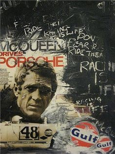 Street Art - Steve McQueen -Le Mans | http://your-beautiful-motorbikes-gallery.blogspot.com