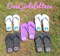 Custom Monogrammed Flip flops by OneGirl3Letters on Etsy, $13.00