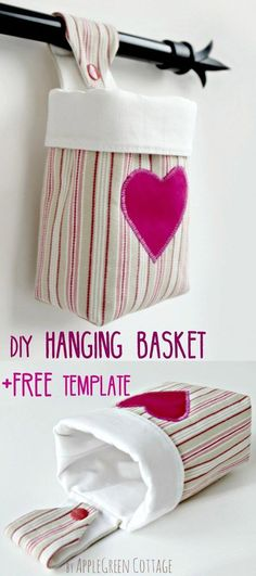 How to make a fabric hanging basket and a free sewing pattern- a fun beginner sewing project. Hanging storage basket with free pattern to make a small hanging basket. Learn to sew with this easy sewing project - grab the free pattern now! Easy Sewing Projects, Sewing Projects For Beginners, Sewing Hacks, Sewing Tutorials, Sewing Crafts, Sewing Tips, Bag Tutorials, Sewing Machine Projects, Bags Sewing