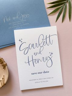 Modern Letterpress Save the Date with Dusty Blue Envelopes and Periwinkle Ink - printed on double thick, luxe cotton cardstock. Sure to make an epic first impression!